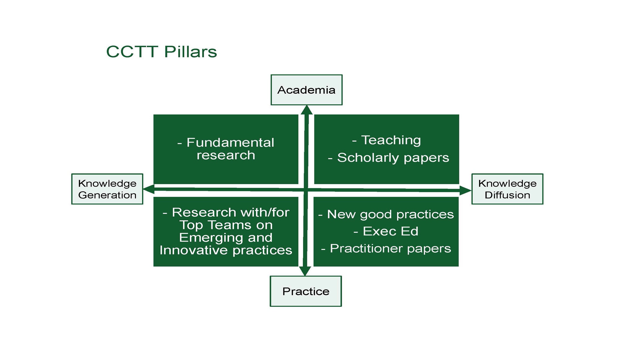 Graphic of the SGTT Pillars: Acadamia, knowledge diffusion, practice, knowledge generation